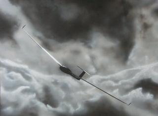 Sailplane in big lift cloud