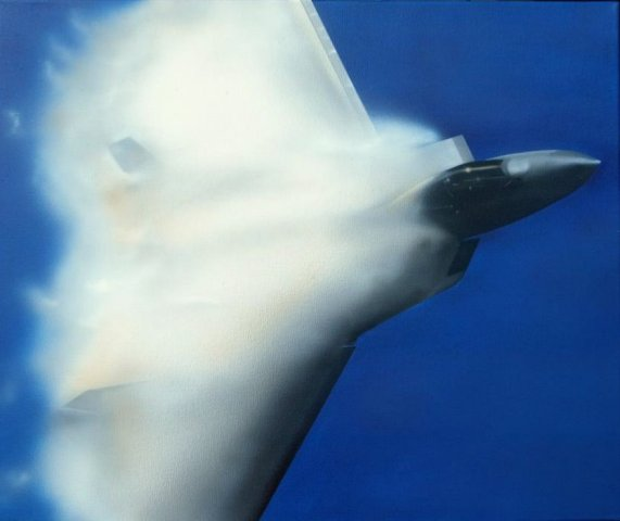 F15 with wing condensation compression cloud