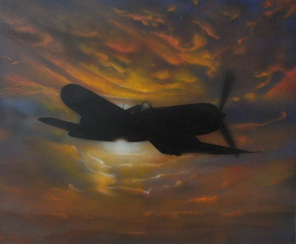 F4U Corsair with Pacific sunset
