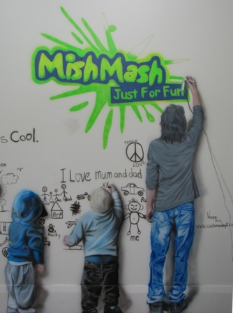 Mish Mash Tv Studio mural